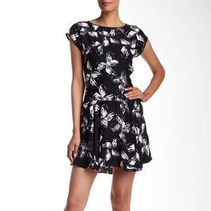 Halston Heritage Silk Floral Drop-Waist Dress